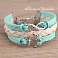 mint green bracelet, mint green leather , infinity bracelet,anchor bracelet, infinity love,  bridesmaid bracelet, friendship  christmas gift
