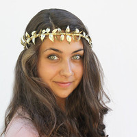 Gold Leaf Vine Crown - New Year&#x27;s Eve Tiara, Gold Leaves, Goddess, Greek, German Wedding Crown, Leaf Tiara, Halo, Leaf Hair Wreath