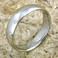 Platinum Finger Print Wedding Ring Convex by AdziasJewelryAtelier