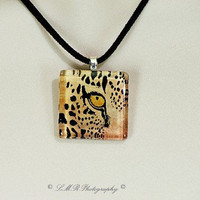Cheeta Necklace, Cheeta Glass Tile Necklace, Animal Pendant Necklace, Glass Tile Jewelry