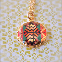 The Kaleidoscope Mini Locket Vintage Gold by verabel on Etsy