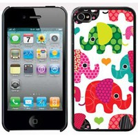 Amazon.com: Apple iPhone 4 4S 4G Black 4B1 Hard Back Case Cover Colorful Elephants Hearts: Cell Phones & Accessories