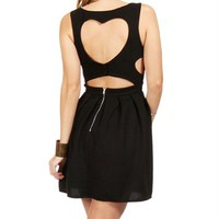 SALE-Black Heart Shape Open Back Dress