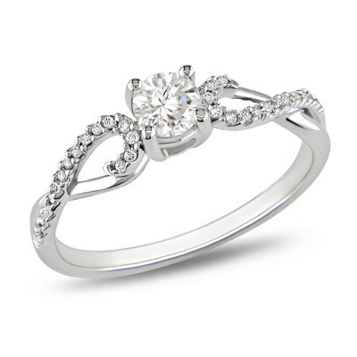 3/8 CT. T.W. Diamond Solitaire Twine Engagement Ring in 10K White Gold - View All Rings - Zales