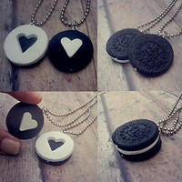 Oreo Cookie Puzzle Necklace Set at www(dot)treatjewelry(dot)com
