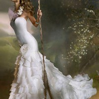 Bridal Gowns: Lazaro Mermaid Wedding Dress with Strapless Neckline and Basque Waist Waistline