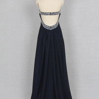 Dark Navy Prom Dress, Sweetheart Long Chiffon Beaded Prom Dress
