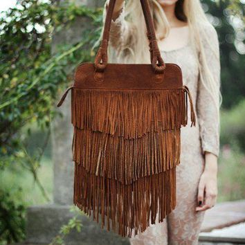 Fringe Brown Leather Bag // Made to order // by SABRINATACH
