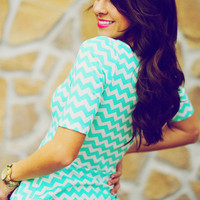 Peplum Chevron Craze Top: Mint | Hope's