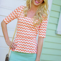 Peplum Chevron Craze Top: Peach | Hope's