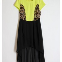 Cheetah Edged High Low Chiffon Dress