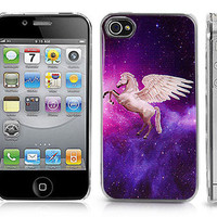 Transparent Snap-On Clear iPhone Case for 4/4S iPhone-Space Galaxy w/ Unicorn
