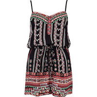 Black tribal print strappy playsuit