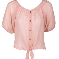 Solid Blush Button-Front Chiffon Blouse