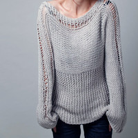 Reserve for alexandrasangster - Hand knit woman sweater - Eco cotton sweater in light grey