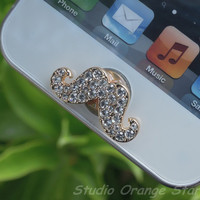 1PC Bling Clear Crystal Cute  Mustache Apple by StudioOrangeStar