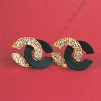 studded cc logo earrings