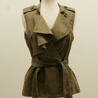 DIANE VON FURSTENBERG Brown Cotton Sleeveless Asymmetrical Belted Vest Size 2