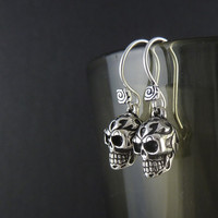 Skull Earrings Antique Silver Tribal Skull Earrings by LostApostle