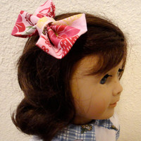 Fabric Hair Bow American Girl Doll Toddler Girl Teen Pink Floral
