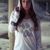 White Pullover Burnout Long Sleeve Hoodie Lace Paw by ShopRIC