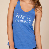 Hakuna Matata Eco Heather Racerback Tank Top in Cobalt by ShopRIC