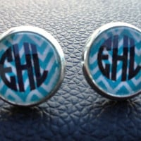 Monogram Glass Stud Earrings by christylous on Etsy