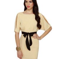 Sultry Beige Dress - Open Back Dress - Cocktail Dress - $40.00