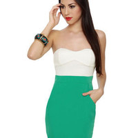 Cute Strapless Dress - Sea Green Dress - Color Block Dress - $37.50