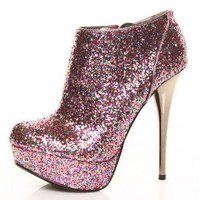 Qupid Neutral 237 Fuchsia Multi Glitter Bootie Pumps - $42.00