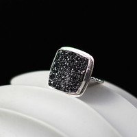 Charcoal Glitter Ring  Handmade Drusy and Sterling by MarKhed