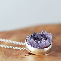 Crystal Castle Necklace  Rough Amethyst Drusy Necklace by MarKhed