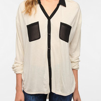 Urban Outfitters - Sparkle &amp; Fade Contrast Chiffon Button-Down Shirt