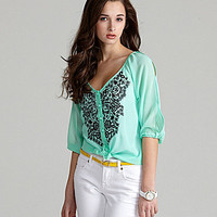 Angie Embroidered Button-Front Top | Dillards.com