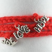 Red Crochet Wrap Bracelet by theotherstacey on Etsy