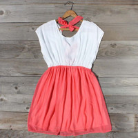 Tied Chiffon Dress in Watermelon, Sweet Women's Country Clothing
