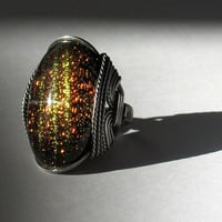 Cocktail Ring Dichroic Fused Glass Red Gold Green by HardCandyGems