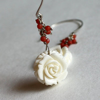 Carved flower earrings by sheny on Etsy