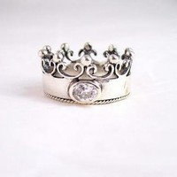 Sterling Silver Crown Ring with Cubic Zirconia &quot;Princess&quot;, Size 7: Jewelry: Amazon.com