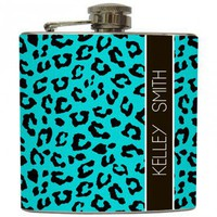 Liquid Courage Flasks: &quot;African Safari&quot; - Personalized Cheetah Print Flask