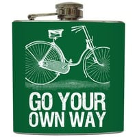 "Liquid Courage Flasks: ""Go Your Own Way"" - Green Bicycle Flask"
