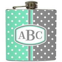 Liquid Courage Flasks: &quot;Mint &amp; Grey Polka Dot&quot; - 2 Tone Personalized Monogram Flask