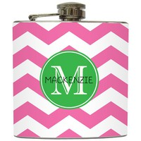"Liquid Courage Flasks: ""Single Initial Monogram"" - Personalized Flask with Your Initial on Chevron"