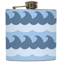 "Liquid Courage Flasks: ""Surfs Up"" - Vintage Ocean Waves Flask"