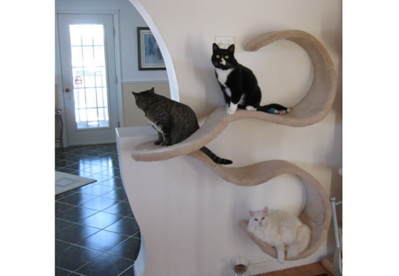 Wall Mounted Cat Shelf The Double Wave From
