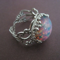 Pink Fire Opal Adjustable Ring Silver Plated Antique Filigree