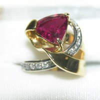 Have You Seen the Ring?: Rubellite & Diamond 18K Yellow Gold Ring
