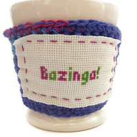 Coffee Cozy Crochet  Bazinga The Big Bang Theory  by tessacotton
