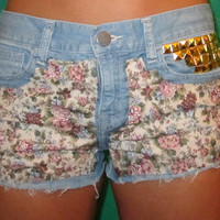 Floral High Waisted Jean Shorts