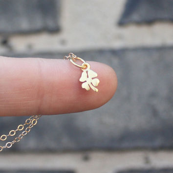 Clover Necklace - Gold Four Leaf Clover Pendant . Gifts for Her . 24K Gold-Dipped Sterling Silver